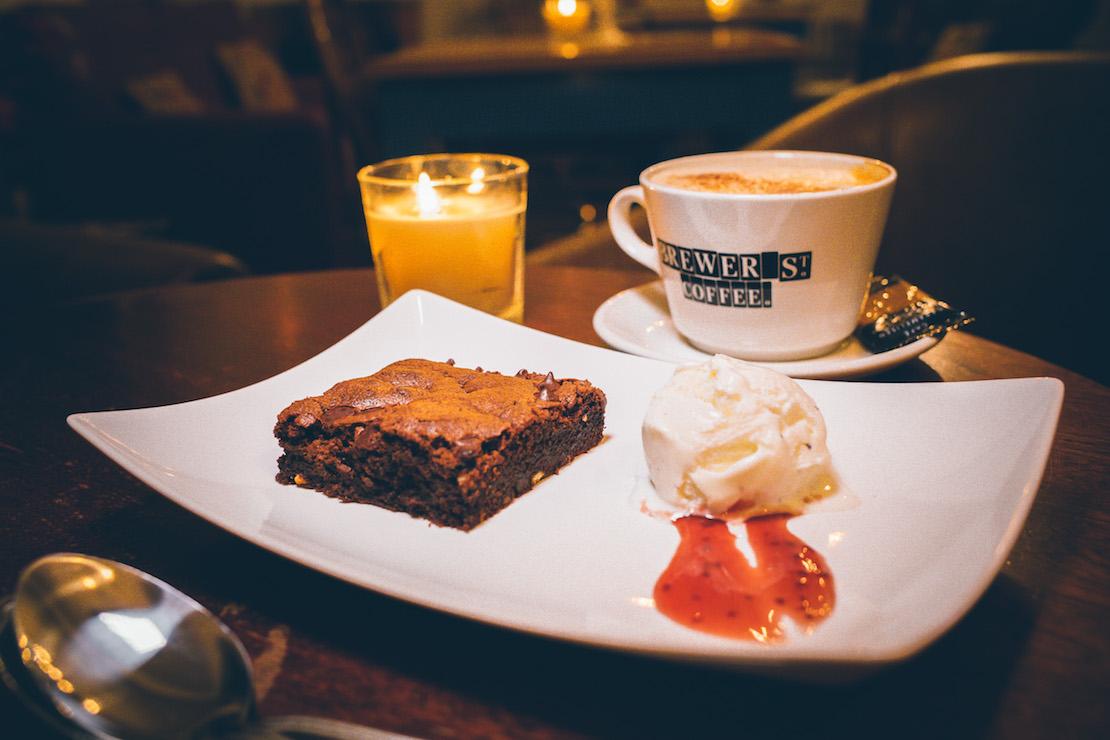 Chocolate Brownie, vanilla ice cream